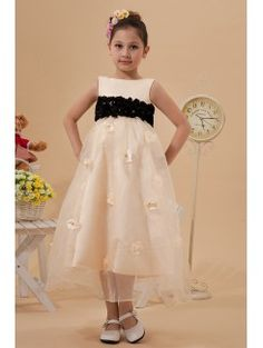 Organza and Satin Bateau Tea-length A-line Flower Girl Dress with Crystals