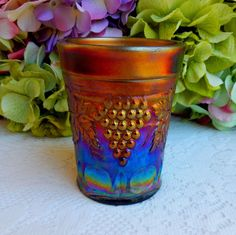 Beautiful Vintage Northwood Carnival Glass Tumbler ~ Grape & Cable ~ Amethyst #Northwood