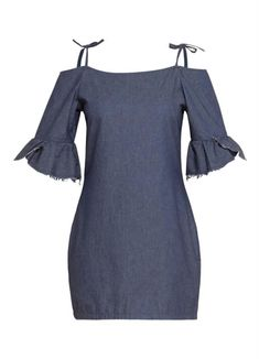 Vestido Quintess Ombro Vazado Jeans Escuro Casual Wear, How To Make, How To Wear, Cold Shoulder Dress, Bell Sleeve Top, Plus Size, Street Style, Denim, My Style
