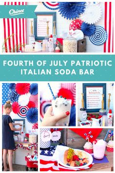 This fun Italian soda bar is the perfect family-friendly way to cool down this summer. Patriotic Party, Patriotic Decorations, 4th Of July Party, Fourth Of July, Italian Soda Bar, American Party, Independance Day, July Crafts, Holidays And Events