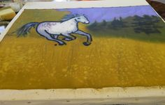 Horse direct painting on silk in Stephanie Robertson's Making Your Mark class at Sievers School of Fiber Arts.