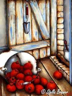 Art by Stella Bruwer white enamel bucket sideways pomegranates on wooden floor by door with trowel Pictures To Paint, Art Pictures, Canvas And Cocktails, Stella Art, Decoupage, Object Drawing, Summer Painting, Prophetic Art, South African Artists
