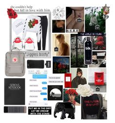 """""""roses hurt us."""" by rinharufree ❤ liked on Polyvore featuring Polaroid, Topshop, adidas, Nasaseasons, Off-White, Fjällräven, AG Adriano Goldschmied, Hickey, Allstate Floral and Hermès"""