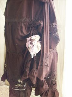 Boot Scootin' Boogie Skirt with Tattered flower by UpcycledRose, $64.00
