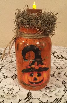 Pot Mason, Fall Mason Jars, Mason Jar Diy, Mason Jar Pumpkin, Halloween Mason Jars, Pumpkin Crafts, Fall Crafts, Holiday Crafts, Pumpkin Tea
