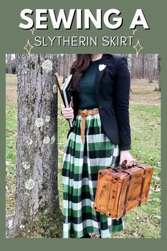 Learning to sew? This gathered waist skirt is the perfect project to start with! And it's easy to add Hogwarts house vibes! For me, that's Slytherin! #Sewing #SewingProjects