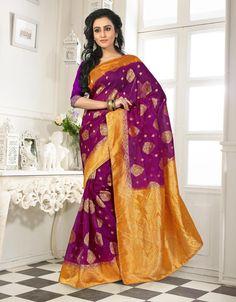 Purple Banarasi Silk Saree With Blouse 64062