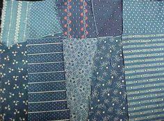 Antique Vintage Cotton Quilt Fabric Scraps ALL Blue Indigo Victorian