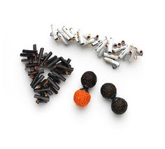 JULIE BLYFIELD-AUSTRALIA Burnt stick, brooch, 2009 / Ash stock, brooch, 2009 / Burnt orange quondong seed, brooch, 2009 / Burnt quandong seed, brooch, 2009Gallery Funaki: natural selection