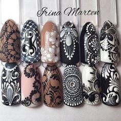 So intricate nail tutorials, video tutorials, fancy nails, cool nail art, e Easy Nail Art, Cool Nail Art, Nail Art Dentelle, Gel Nails, Acrylic Nails, Mandala Nails, Lace Nails, Manicure E Pedicure, Nail Tutorials