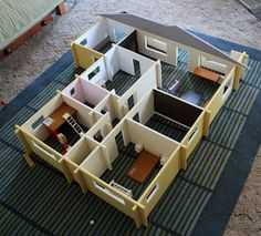 1/12 scale doll house, slotted together for easy storage
