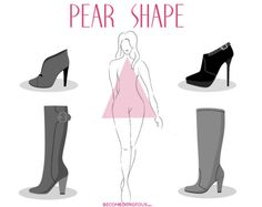Don't be afraid to highlight your ankles with a slimmer boot in the ankle area. Pull-ons are best and stacked heels are also a good idea. Pear Shaped Dresses, Pear Shaped Outfits, How To Have Style, My Style, Fashion Mode, Fashion Outfits, Pear Shape Fashion, How To Wear Flannels, Triangle Body Shape