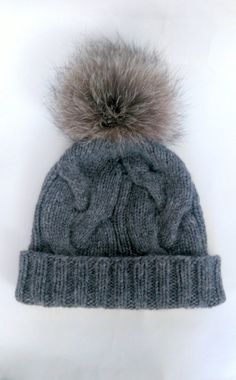 d9bddb68af2b6 Grey cable knit hat with pom pom   Wool apaca cabled beanie   Fur pom pom  hat   Braided cable   Bobble hat   Recycled fur   Apres ski