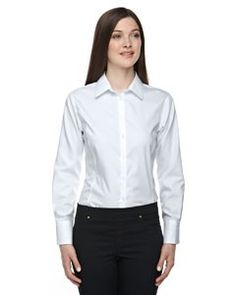 Ash City - North End Sport Blue Ladies' Boulevard Wrinkle-Free Two-Ply 80's Cotton Dobby Taped Shirt with Oxford Twill 78673