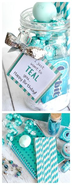 Do it Yourself Gift Basket Ideas for all Occassions - Teal Theme Gift Theme Idea with Printable Gift Tags for Birthday -Friend - Just because and Thank you via Crazy Little Projects