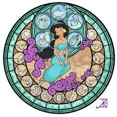 Stained Glass: Jasmine -Take 2- by *Akili-Amethyst on deviantART