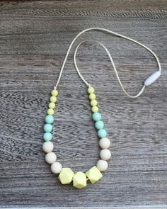 Beaded Silicone Teething Necklace in Springtime – Sugarplum CollectionTeething Necklace, Silicone Bead Necklace, Nursing Jewelry