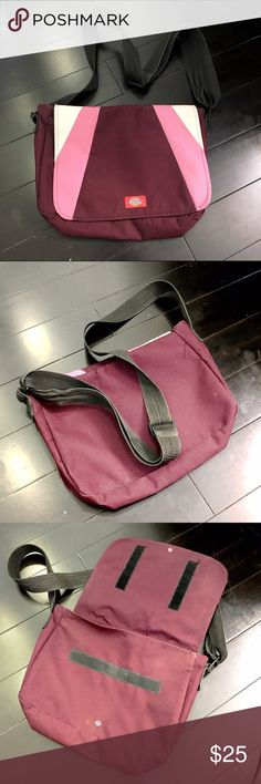 "Dickies messenger bag, pink maroon durable bag Cute and rare!  Small sized, durable cross body messenger bag from Dickie's. Sturdy!  Velcro closure. A while back, I sewed in a snap closure for extra security.  Adjustable black strap. Excellent condition!  Indestructible bag. Colors are light pink, medium pink, and maroon.  12"" across, 9"" tall. 3"" deep. Dickies Bags Crossbody Bags"