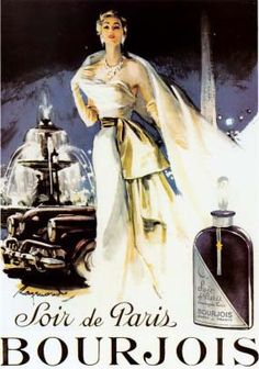 This is a high quality fine art giclee print of a vintage French advertising art poster for purfume in Paris, France, circa 1950 Soir De Paris IV.