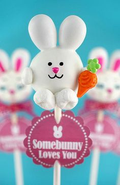 Easter bunny cake pops - used the Jordan almonds for ears, the pink rainbow chip sprinkles for noses, mini marshmallows for feet and arms, green daisy sprinkles and orange ice cream candy… you guessed it … for carrots.