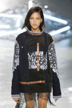 NYFW Spring 2015: Buckle jacket over sheer lace at Rodarte