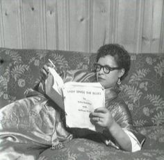 Billie Holiday reading the script for Lady Sings the Blues