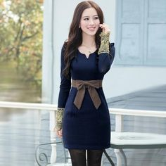 New Arrival Elegant Bowknot Long Sleeve Lace Warm Sheath Dress