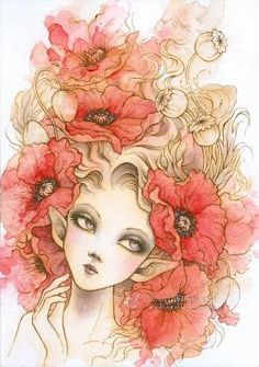 Original Art - Red Poppies - Red Poppy Elf - Free US Shipping - Ink & Watercolor Fantasy Illustration 5 x 7 by Mitzi Sato-Wiuff by lidia
