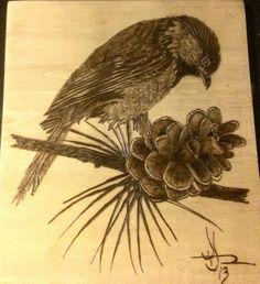 """Hungry Sparrow"" woodburning, wood burning, pyrography"