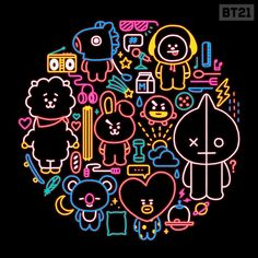 30 Ideas Cookies Bts For 2019 Neon Light, Fanart Bts, K Wallpaper, Bts Drawings, Line Friends, Bts Chibi, Bts Fans, I Love Bts, About Bts