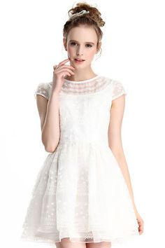 ROMWE | Lace Embroidered White Dress, The Latest Street Fashion #ROMWEROCOCO