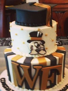 Wake Forest Demon Deacons cake Wake Forest Demon Deacons, Graduation Party Planning, Wake Forest University, Forest Cake, Rehearsal Dinners, Cake Decorating, Decorating Ideas, Winston Salem, Desserts