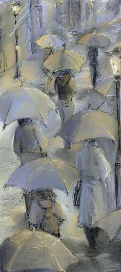 I like the mass of people plodding along in the rain. London Rain by Natalie Salbieva. Walking In The Rain, Singing In The Rain, London Rain, Rain Art, Kunst Online, Umbrella Art, Parasols, Art Et Illustration, Rainy Days