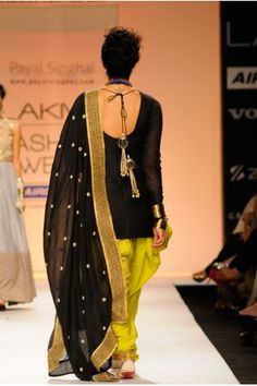 Payal Singhal Indian Wear Collection : : Diva Mul Suit : Black Silk Mul Fitted Kurti Worn With Kiwi Lime Cotton Silk Jodhpur Pants And Black Silk Mul Embroidered Dupatta With Jaali Border Indian Suits, Indian Attire, Indian Dresses, Indian Wear, Punjabi Suits, Indian Clothes, Punjabi Fashion, Indian Fashion, Indian Look