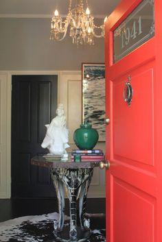 28 Ideas Red Door Interior Feng Shui For 2019 Feng Shui, Coral Door, Orange Door, Front Door Colors, Front Doors, Red Doors, Front Porch, Indoor Outdoor, Outdoor Living