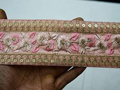 Peachy Pink Saree Border Fabric Trim By The Yard Embroidered Trimmings Ribbon Indian Sari Border gold indian trim Crafting Sewing Hand Work Embroidery, Embroidery Designs, Saree Border, Indian Fabric, Pink Saree, Maroon Saree, Sewing Trim, Passementerie, Fuchsia