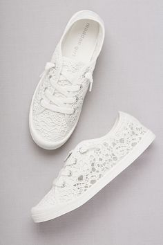 Crochet Lace Sneakers | Casual wedding shoes from David's Bridal