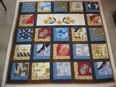 Memory quilt for friend using her granddad's Hawaiian shirts