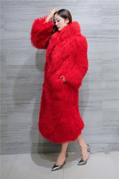 Related image Colorful Fur Coat, Long Faux Fur Coat, Red Fur, Animal Fur, Sheepskin Coat, Fabulous Furs, Fur Clothing, Asian, Haute Couture Fashion