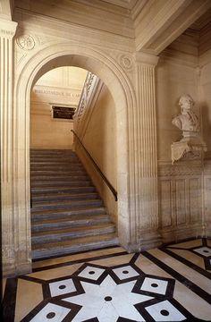 Photographie : David Paul Carr / BnF, Bibliothèque de l'Arsenal. Arsenal, Monuments, Decoration Originale, Bnf, Sully, Succession, Mosaic, Stairs, Flooring