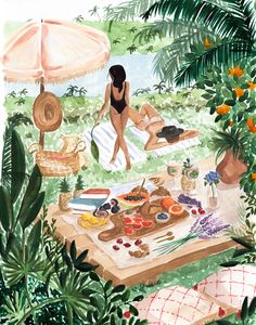 Picnic In the South of France Art Print by Sabina Fenn Illustration - X-Small Illustration Mode, Watercolor Illustration, Illustrations, Watercolor Paintings, Watercolour, Canvas Art Prints, Canvas Wall Art, France Art, Aesthetic Art