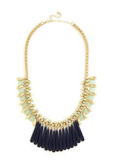 Glamour and More Necklace. Theres no limit to the level of glamour that one can add to a look, so dont think twice about donning this golden bib necklace! #multi #modcloth