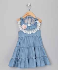 Take a look at this Denim Lace Tier Dress - Toddler & Girls on zulily today!