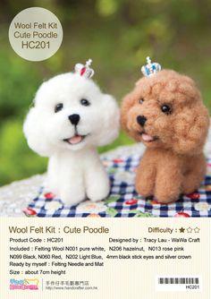 Needle Felting English / Chinese  Craft Kit  DIY Handmade Wool Felt Kit Toy Poodle - Can make 2 (English / For Beginner) door 1127handcrafter op Etsy https://www.etsy.com/nl/listing/124197987/needle-felting-english-chinese-craft-kit
