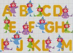 Alfabeto de brujitas de colores para punto de cruz.
