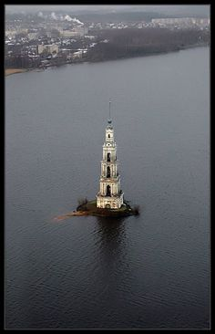 Bell tower of The Nicholas Cathedral in Kalyazin town is the symbol of unsinkable Orthodox Russia!