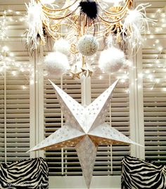 decorated chandelier with white lights strung behind it. Twinkle twinkle, sparkle and shine! Happy New Year everyone, whatever your plans may be.    \