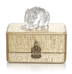 A FABERGÉ HARDSTONE ELEPHANT, LATE 19TH CENTURY carved of rock crystal, cabochon ruby-set eyes, in original Fabergé fitted wood case length: 3.2cm, 1 1/4 in.