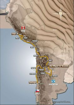 Rally Dakar 2013, the route from Peru to Argentina to finish in Chile