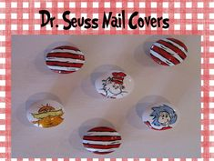 Dr. Seuss Hand Painted Decorative Art Nail Covers-dr. seuss, dr. seuss nursery, dr. seuss nursery decor, doctor seuss decorations, dr suess nursery, dr seuss decorative art nail covers, nail covers, knobs to cover nail, knob for decorative art, nailcover, painted letters, nail covers for letters, nail covers for wooden letters, cat in the hat decor, one fish two fish decor, horton decor, green eggs and ham decor, thing 1, thing 2